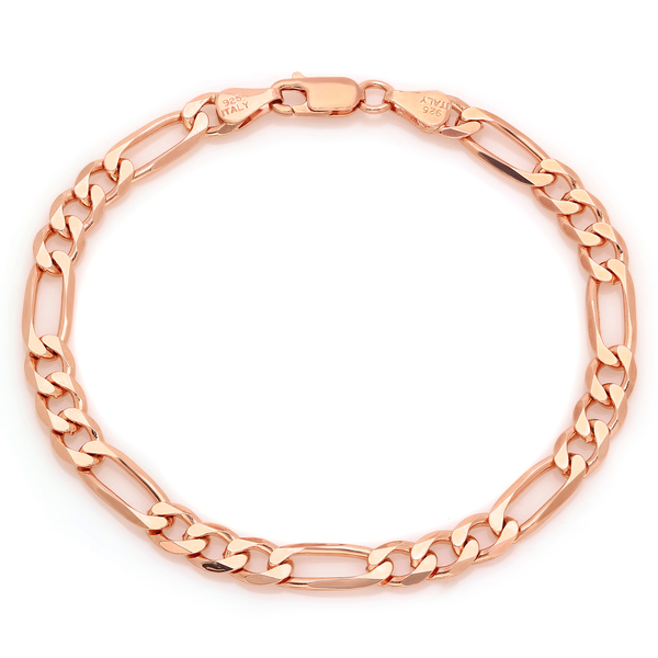 Sterling Essentials Rose Gold over Silver 6 mm Diamond-cut Figaro Bracelet (7 Inch)