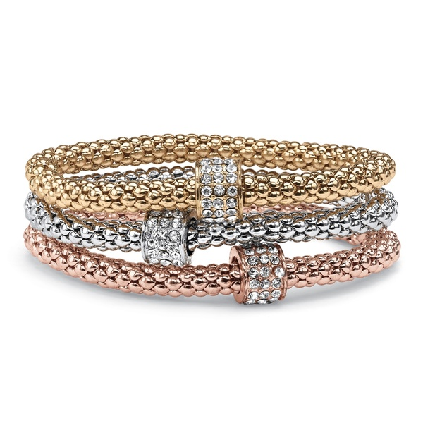 "PalmBeach Crystal Beaded Tri-Tone Stretch Rope Bracelet Set in Gold Tone, Rose Gold-Plate and Silvertone 8"" Bold Fashion"