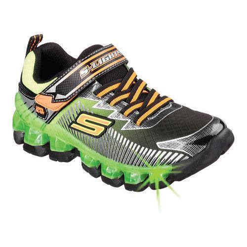 Boys' Skechers S Lights Flashpod Scoria Sneaker Black/Lime