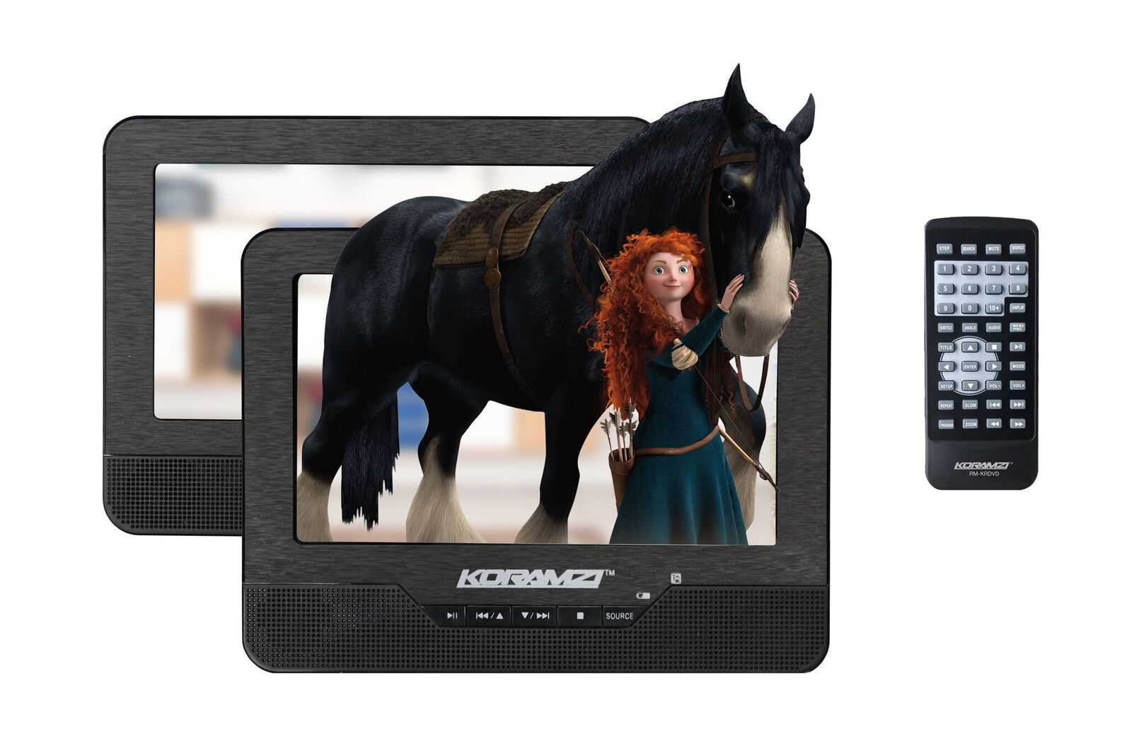 Koramzi Portable 7' Dual Screen DVD Player with Rechargeable Battery / AV In / USB &SD Card Reader / Remote Control / Car Adapter / IR Transmitter Ready / USB / Headrest Mounting Kit (Black)-PDVD-DS7